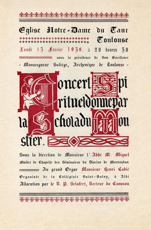 Programme du 13 février 1939