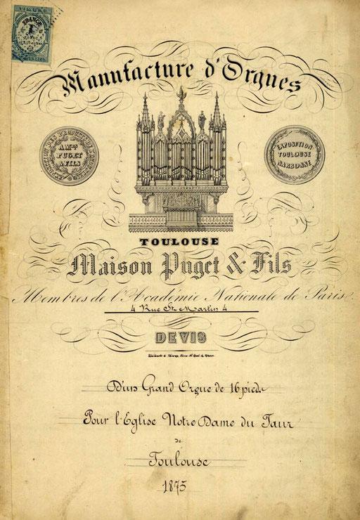 Devis du grand orgue - 1875
