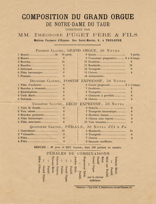 Composition de l'orgue en 1880