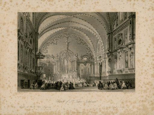 Intérieur de l'église avant les travaux de restauration et l'installation du grand orgue