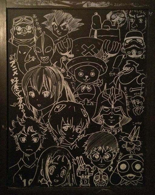 看板にイラスト描いてみた。