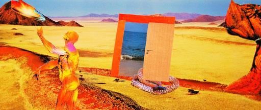 Hier entsteht die surreale Bildaussage, durch Einbettung eines nicht realen Landschaftssegmentes, Gegensatz Wüste/ Meer