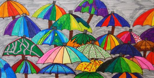 Regenschirme, Filzstiftzeichnung