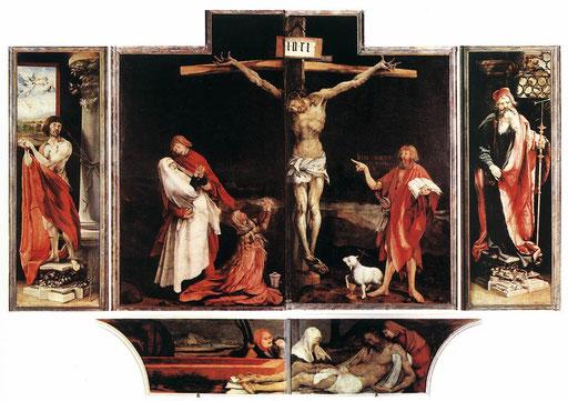 """"""" Le retable d'Issenheim """"; 3,30 x 5,90m; Tempera et huile sur bois de tilleul; 1512 - 1516; Matthias Grünewald. – à Musée Unterlinden."""