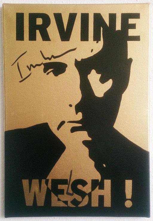 """""""Le portrait d'Irvine Wesh !"""", acrylique sur toile, 55x44 cm, 2018"""