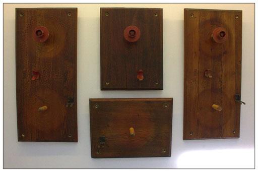 """ Retable F.E ""; polyptyque 106x50, 65x50, 50x65, 106x50 cm; Wood & Metal; 2017. Credit : Gerard Dumora"