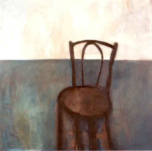 """Eva Hradil """"Kingas Sessel"""", 2003, Eitempera auf LW, 130 x 130 cm"""