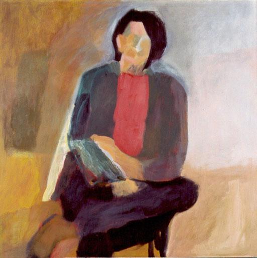 """Eva Hradil, """"Emi Rendl Denk"""" 2003, Öl und Eitempera auf LW, 130 x 130 cm, Ankauf Land NÖ"""