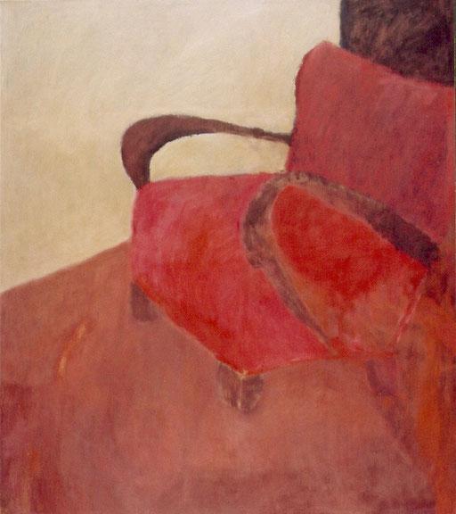 """Eva Hradil, """"Roter Sessel mit Armlehnen"""", 2003, Öl und Eitempera auf LW, 150 x 130 cm"""