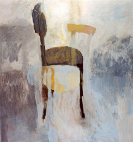 "Eva hradil ""schwarzer Sessel neben Grau"", 2003, Eitempera/LW, 140x130 cm, Ankauf Bund"
