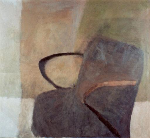 """Eva Hradil """"Clubsessel Otto"""" 2003, Öl und Eitempera auf LW, 130 x 140 cm"""