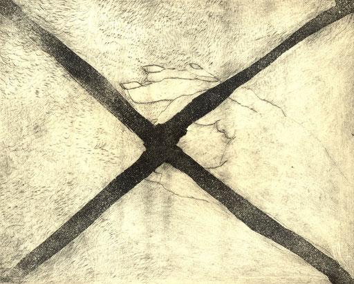 """""""X Clew Bay"""" Eva Hradil, 2006, Kaltnadel/Aqua Tinta"""