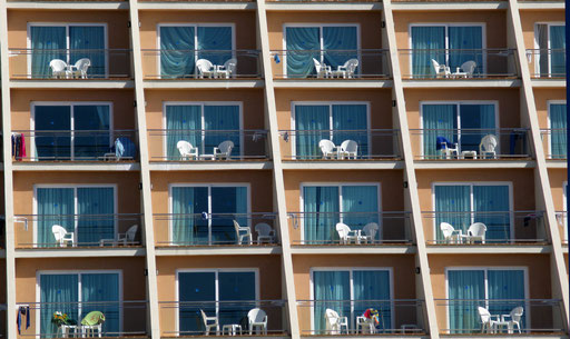 Balconies of an hotel in Varadero, Cuba on 2008.