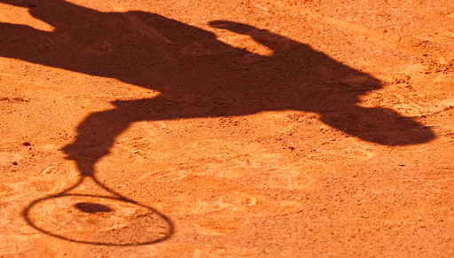The shadow of Marc Gicquel of France is projected returning a shot to Boris Pashanski of Serbia during the match at the Estoril Open in Lisbon April 14, 2008.