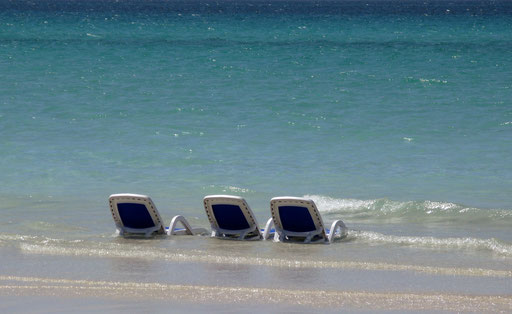 Chairs are seen on the beach sea side in Havana on July 2008.