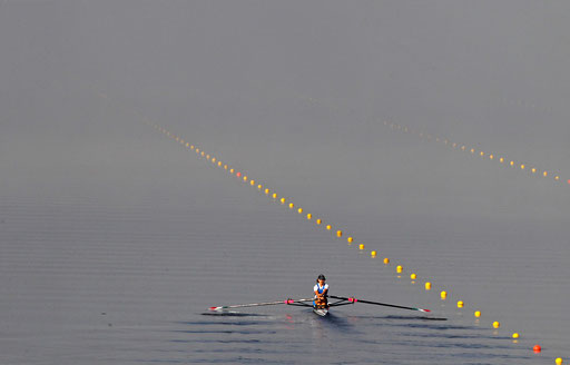 Laura Milan of Italy competes on the women lightweight single sculls first heat of the European Rowing Championship in Montemor o Velho September 10, 2010