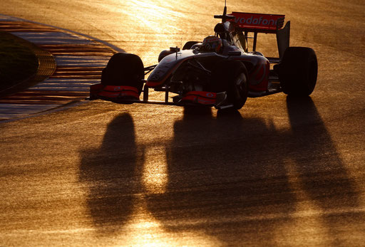 McLaren Formula One driver Lewis Hamilton steers his new car at the Algarve racetrack January 21, 2009.
