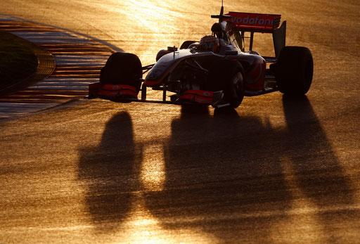 McLaren Formula One driver Lewis Hamilton steers his new car at the Algarve racetrack January 21, 2009.