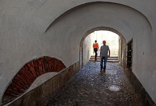 Men walk past narrow street in Lisbon's neighborhood of Alfama July 6, 2011.