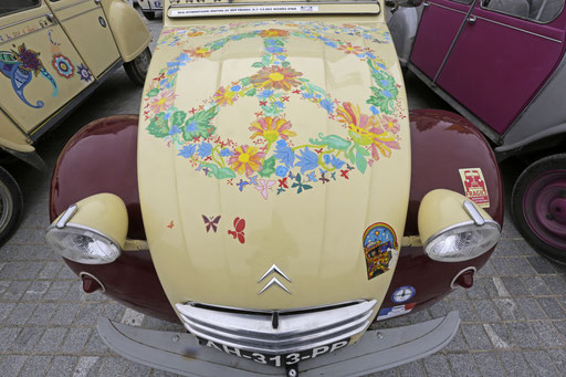 Car with a handicraft painting seen at the parking area in Mafra after the parade of the World 2017 2CV Meeting July 30, 2017