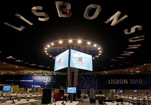 View of the main working room during the 2010 EU Summit in Lisbon on 2010