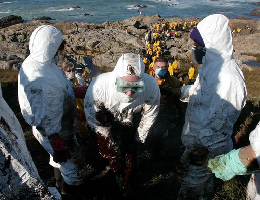 Volunteers make a human chain to help each other and carry pails full of oil from the coast line in Porto Mougas village on the northwestern Spain province of Galicia after the oil spilled from the Prestige tanker on December, 2002