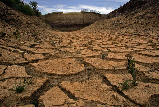 Dam of Pereiras in the southern Portuguese province of Alentejo stays dry June 22, 2005.