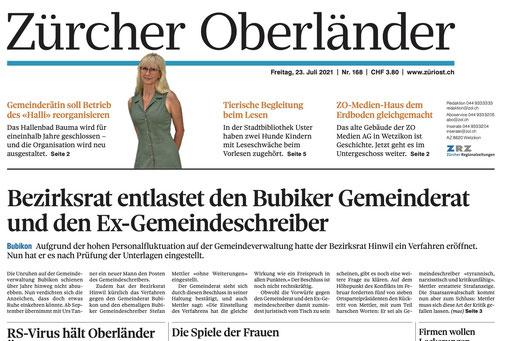 «Zürcher Oberländer» vom 23. Juli 2021