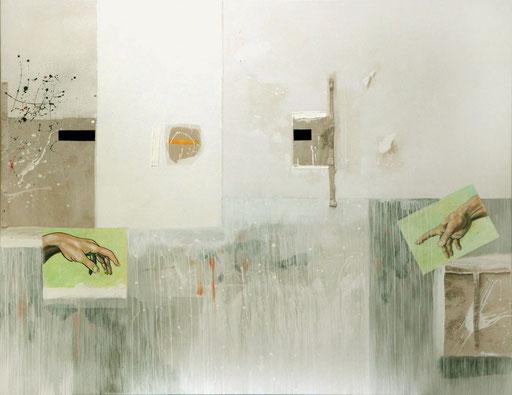 """""""Aus dem Lot"""", 2014, Mischtechnik auf Leinwand, 140 x 180 cm"""