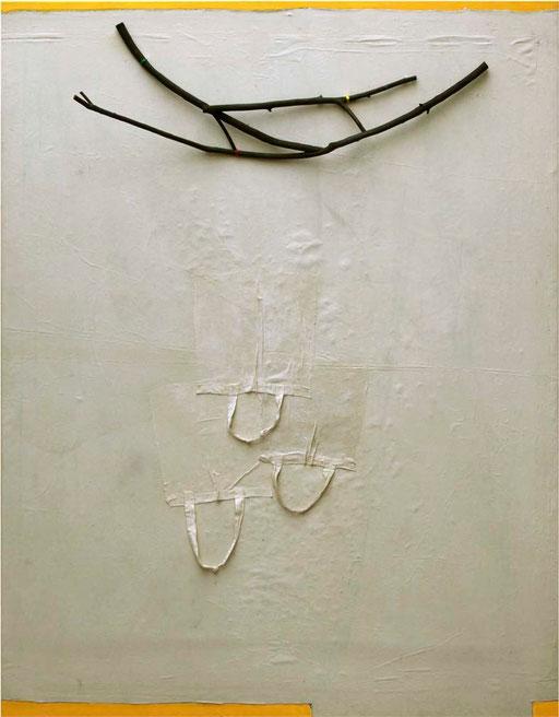 """""""Drei Knoten für den Hirschkäfer"""", 2009, Materialbild auf Leinwand, 180 x 140 cm"""