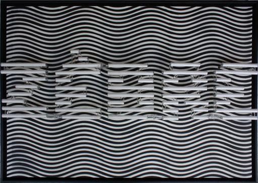 Zèbre, 2015, 70x100x12 cm, tube dia. 18mm, blanc 6500/argon, technique mixte sur bois.
