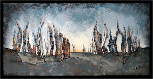 Crépuscule, acrylique sur toile, 100X50.