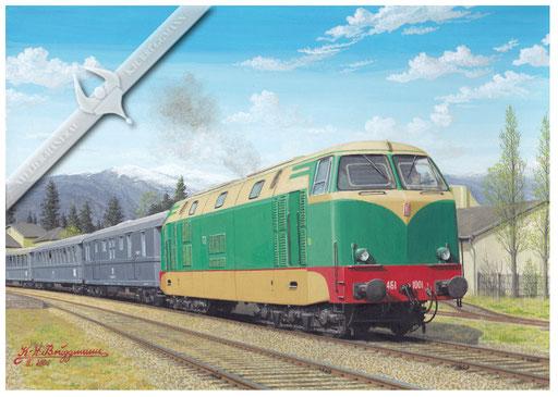 Diesellok FS 461 1001 verläßt mit Reisezug Novara.