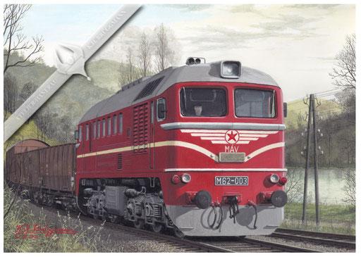 Diesellok MAV M 62 003 im Donautal bei Zebegeny, Anfang der 70er