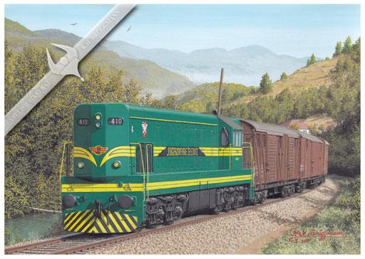 Diesellok JZ 661 410 (GM USA) mit Güterzug Zagreb - Ljubljana in den 60ern
