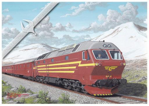 Diesellok NSB Di 4.654 mit Schnellzug Bodö-Trondheim am Polarkreis,1989