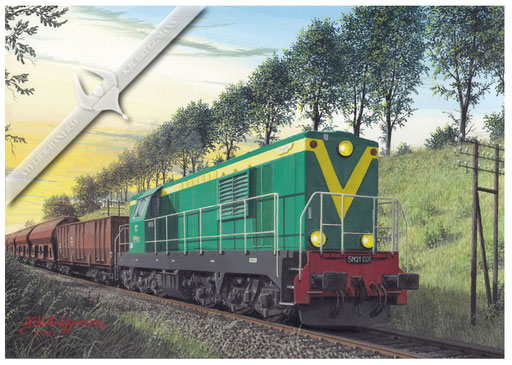 Diesellok PKP SM 31 mit Güterzug bei Radawice, Ende der 80er.