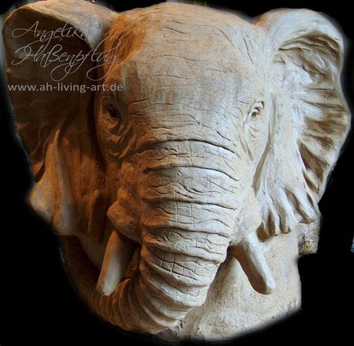 Skulptur aus Ton Unikat Elefant