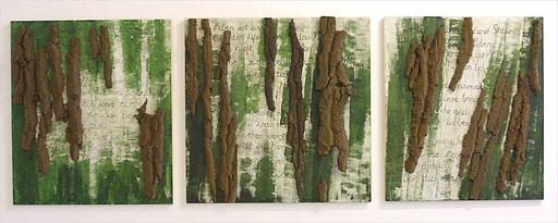 Ohne Titel, 2005, Baumrinde, Acryl auf Holz, 80 x 230 cm