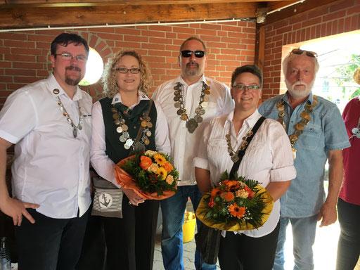 Schützenkönige 2019: Mario Wrackmeyer, Silke Wrackmeyer, Mario Marx, Heike Felten, kleiner Bürgerkönig H.-W. Wolke