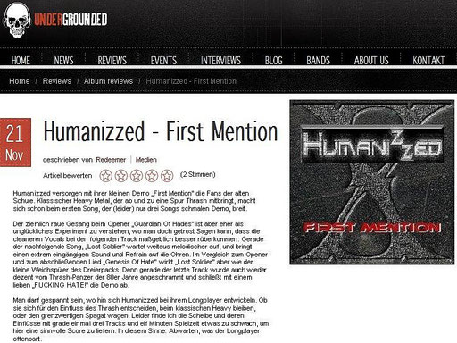 "REVIEW VOM 21.11.2012 - ""FIRST MENTION"" auf www.undergrounded.de"