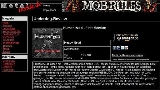 "REVIEW VOM 27.11.2012 - ""FIRST MENTION"" auf www.metal-inside.de"