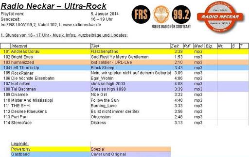 FUNDSTÜCK DER WOCHE - HUM - Screenshot Playlist - Freies Radio Neckar, Stuttgart - ULTRAROCK 05.01.2014