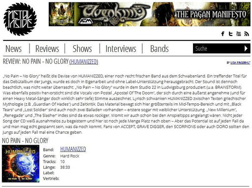HUMANIZZED - NO PAIN NO GLORY - Metal-Inside.de REVIEW - 28.07.2014