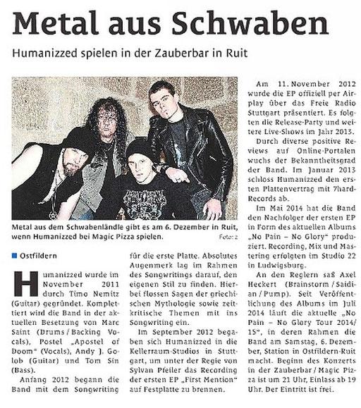 06.12.2014 Stuttgarter Wochenende Wochenblatt - Konzert Zauberbar, Ostfildern - Ruit