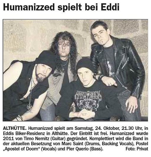 22.10.2015 Welzheimer Wochenblatt - 24.10.2015  HUMANIZZED LIVE AT Eddi's Biker-Residenz, Althütte