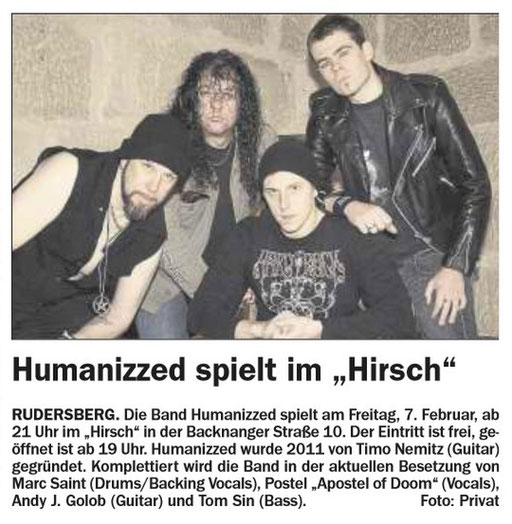 05.02.2015 Schorndorfer Wochenblatt - HUMANIZZED LIVE AT 07.02.2015 Hirsch, Rudersberg