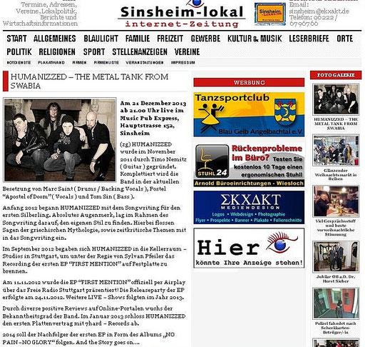 ZEITUNGSARTIKEL SINSHEIM LOKAL - CD PROMOPARTY - MUSIC PUB EXPRESS, SINSHEIM