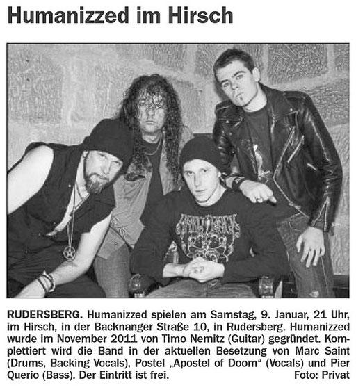 07.01.2016 Schorndorfer Wochenblatt - HUMANIZZED LIVE AT 09.01.2016 Hirsch, Rudersberg