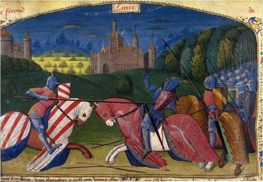 Combat entre Méléagant et Lancelot.